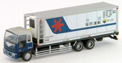 画像1: Nゲージ(1/150) トラックコレクション 7弾 いすゞギガ 福岡運輸 31ft冷凍コンテナ