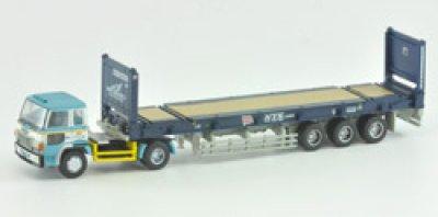 画像1: Nゲージ(1/150) トレーラーコレクション 5弾 日本コンテナ輸送 日野スーパードルフィン+日本郵船(40ftフラットラックコンテナ)
